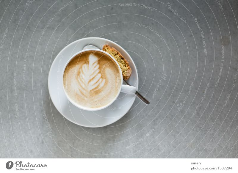 Cappuccino with Latte Art Food Italian Food Beverage Hot drink Coffee Latte macchiato Espresso Cup Harmonious Well-being Living or residing Table Concrete