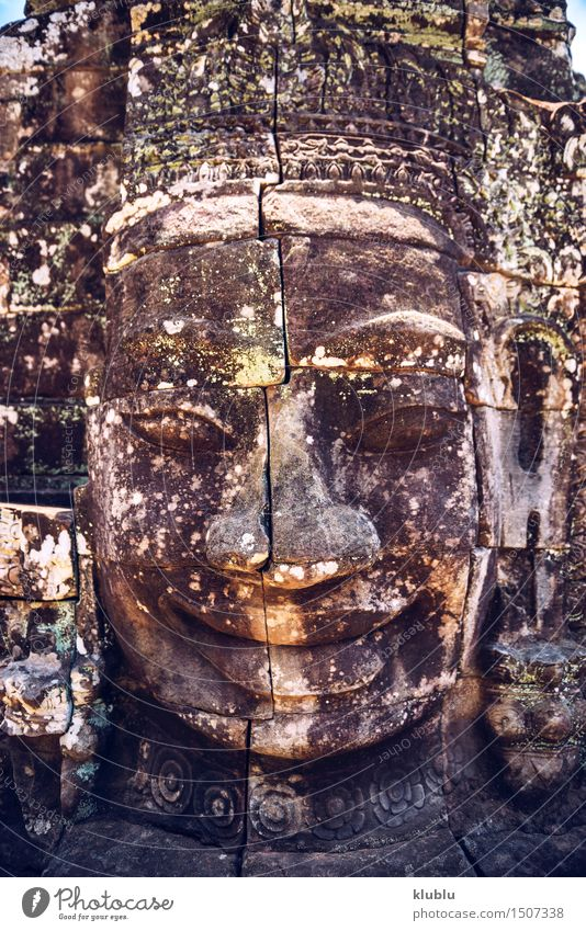 Angkor Thom, Siem Reap, Cambodia Exotic Face Vacation & Travel Adventure Decoration Human being Lips Culture Virgin forest Ruin Places Architecture Monument