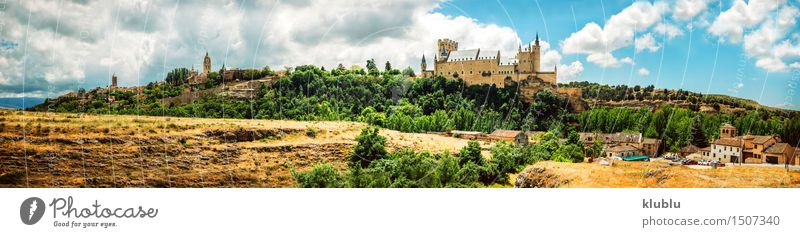 castle Alcazar of Segovia, Spain Vacation & Travel Tourism Landscape Earth Clouds Hill Small Town Skyline Church Palace Castle Places Building Architecture