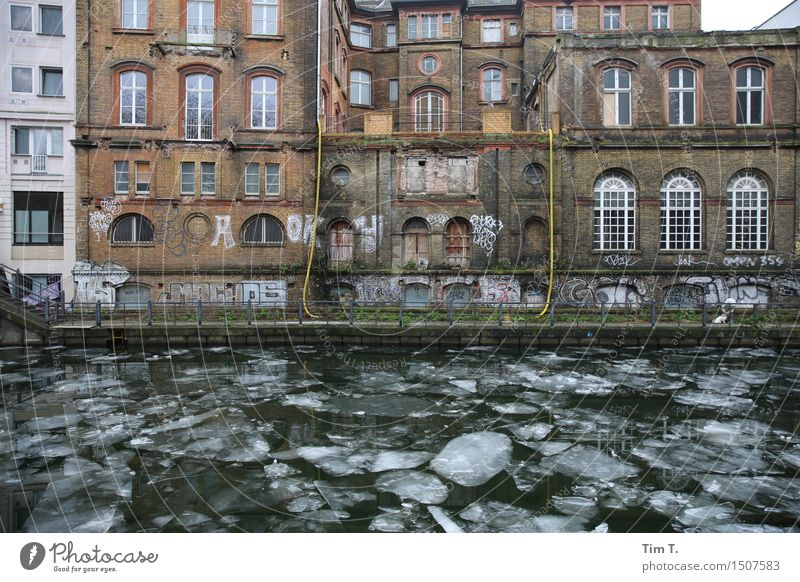 Berlin Mitte Winter Weather Ice Frost River Spree Middle Town Capital city Downtown Old town Deserted Facade Movement Colour photo Exterior shot Day