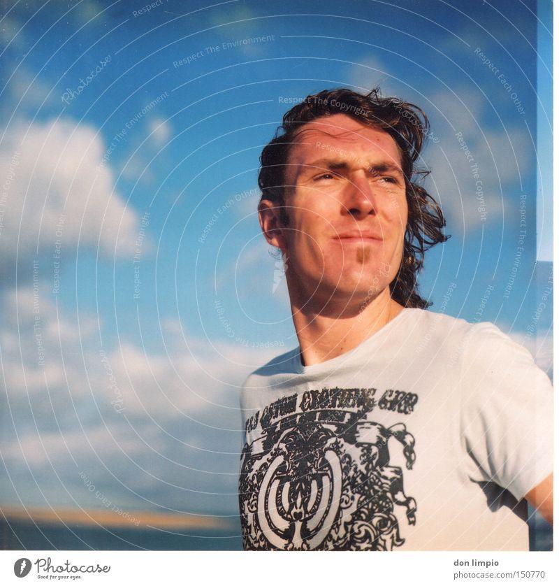 last farewell Summer Beach Human being Portrait photograph Medium format Analog Man