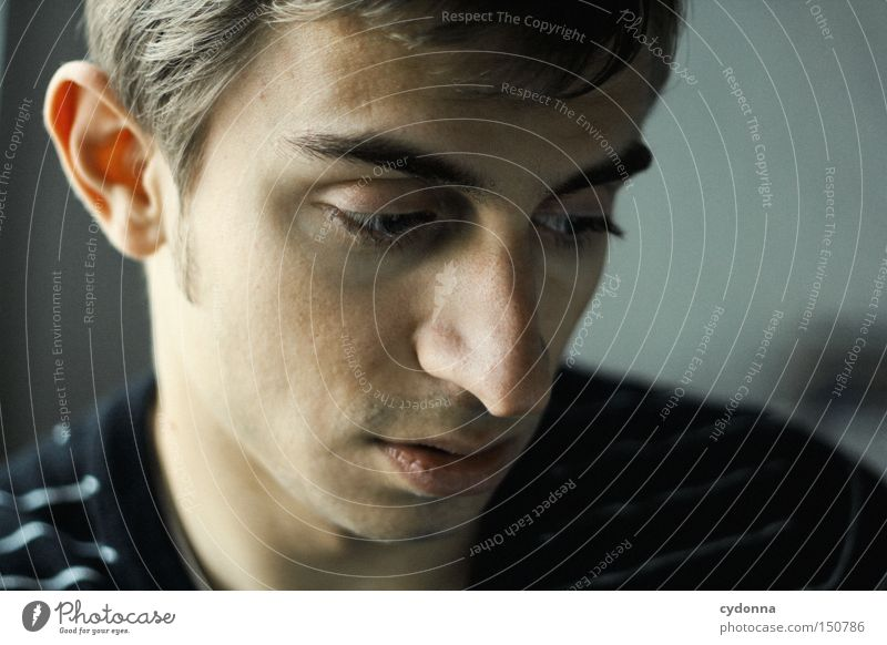 In your thoughts Human being Man Portrait photograph Face Think Head Looking Beautiful Esthetic Delicate Youth (Young adults) Absentminded Dreamily Thought