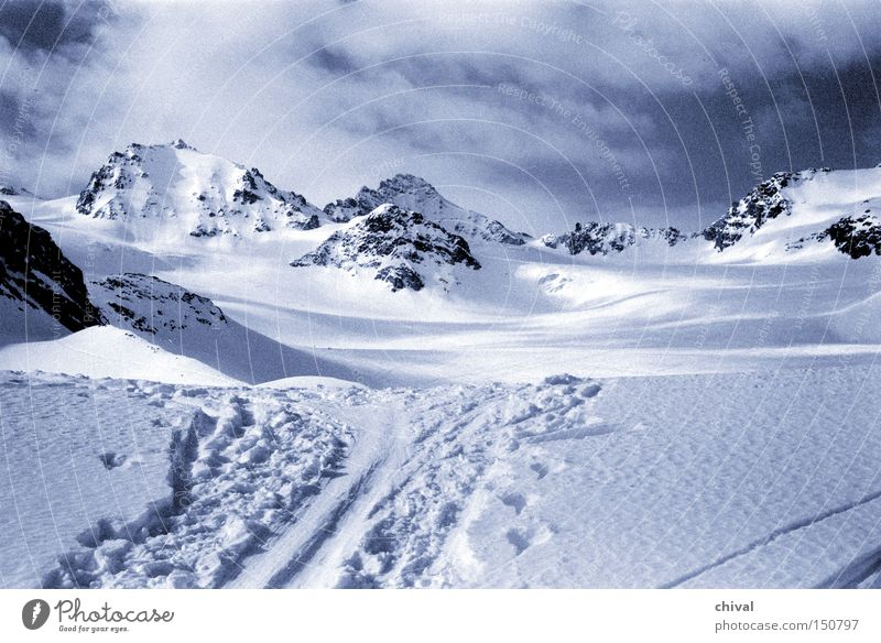 Blue Winter Vacation & Travel Clouds Cold Snow Mountain Ice Large Rock Skiing Tracks Alps Point Glacier Ski tracks