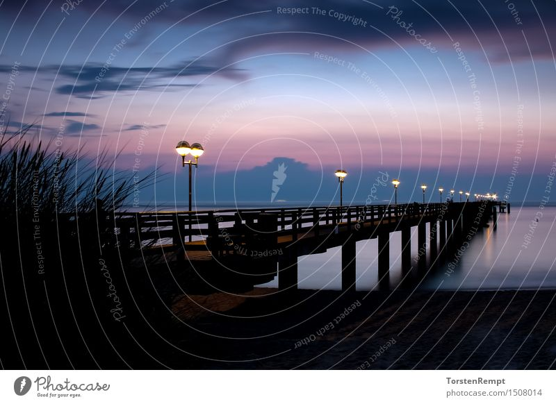 pier Vacation & Travel Tourism Ocean Water Coast Beach Baltic Sea Blue Red Black Romance Sunset graal müritz Deserted Evening Sky holidays Summer Colour photo