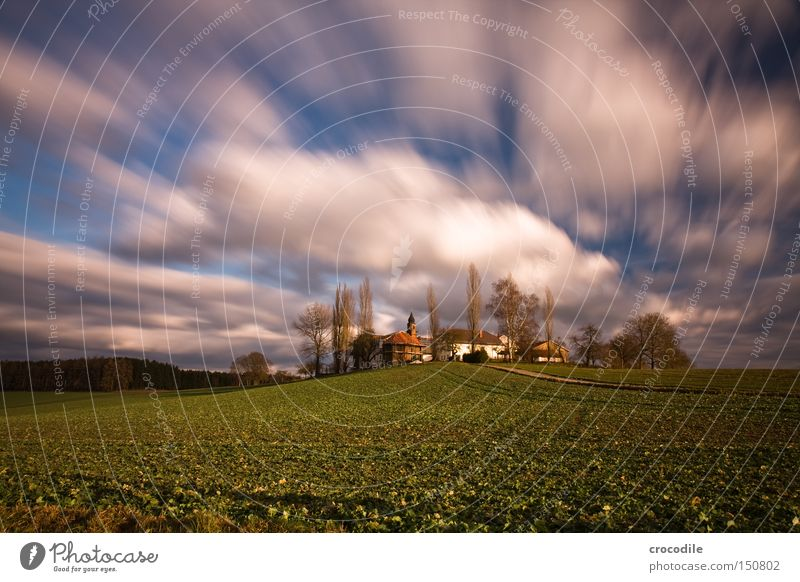 cloud race Farm Real estate Agriculture Chapel Clouds Flying Long exposure Field Autumn Tree Sowing Ecological Manmade landscape House (Residential Structure)