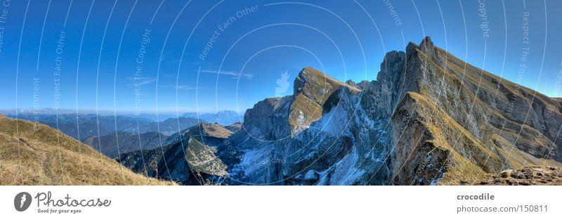 Sky Snow Autumn Grass Mountain Large Rock Tall Vantage point Climbing Alps Austrian Alps Mountaineering Panorama (Format) HDR
