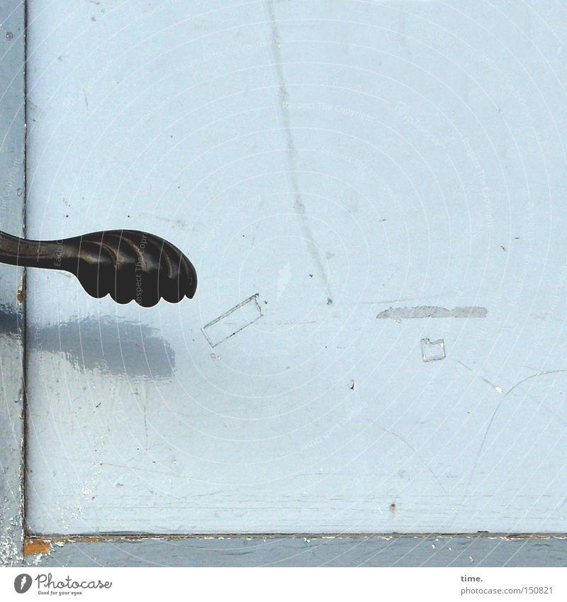 Old Black Wood Door Tracks Decline Entrance Door handle Frame Varnish Sky blue