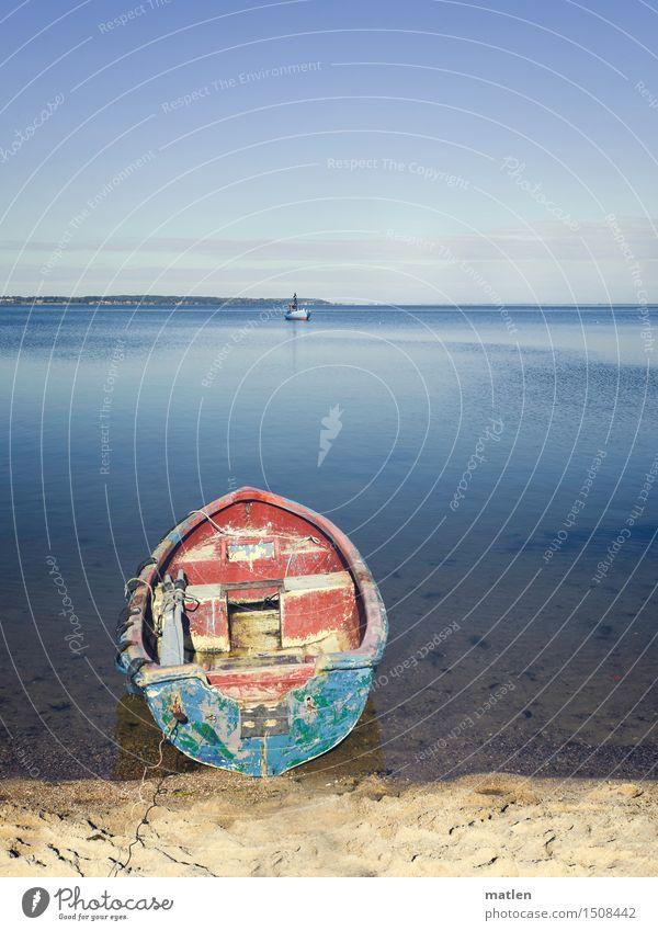 berth Landscape Sand Water Earth Cloudless sky Sun Winter Weather Beautiful weather Coast Beach Bay Baltic Sea Deserted Navigation Boating trip Fishing boat