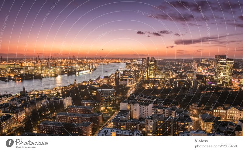 big city lights Hamburg Night Harbour clearer Sea of light Long exposure Sunset Elbe Illuminated City Twilight