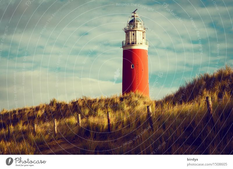Lighthouse on Texel Vacation & Travel Sky Clouds Coast North Sea Island Beach dune Marram grass Tower Tourist Attraction Landmark Esthetic Historic Tall