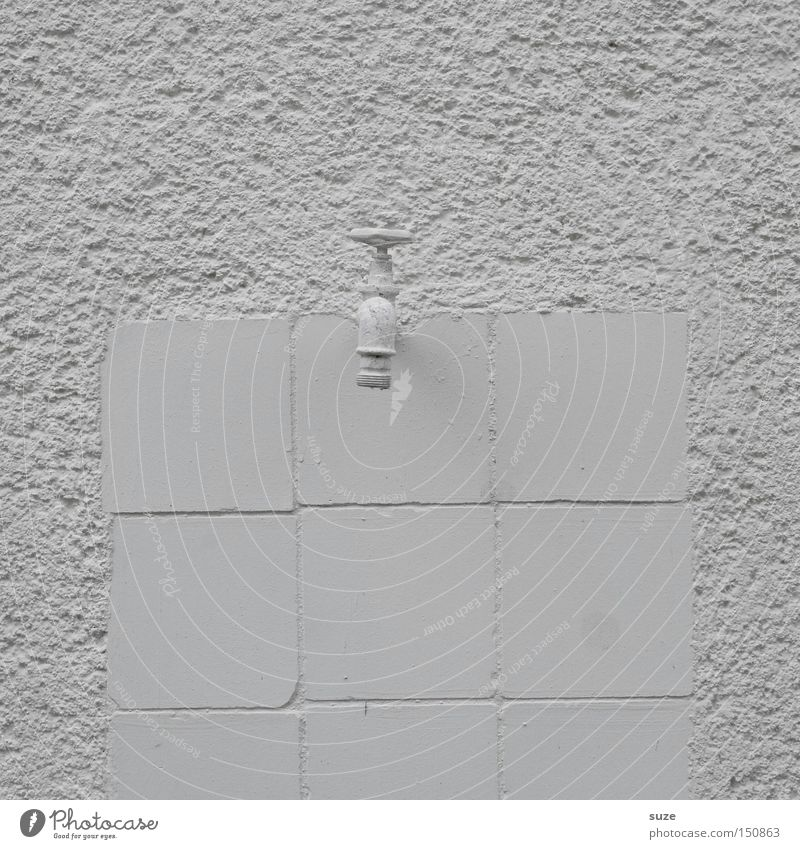 Old White Colour Wall (building) Stone Design Simple Dry Tile Plaster Graphic Tap Colorless Black & white photo Water resources management Sanitary facilities