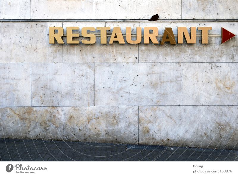 Kitchen Characters Letters (alphabet) Gastronomy Advertising Arrow Sign Restaurant Direction Signage Pigeon Guest Neon sign Signs and labeling Reserved Capital letter
