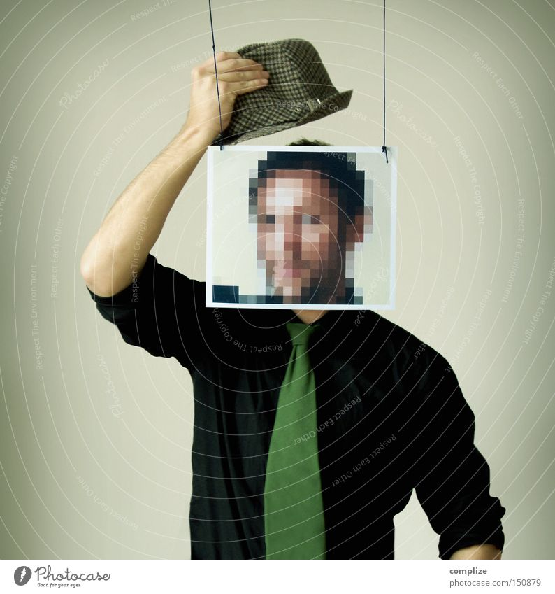 Bonjour Monsieur Pixel Face Man Adults New Media Shirt Tie Mask Hat Communicate Idea Creativity Register Anonymous Data protection Safety Date Criminality