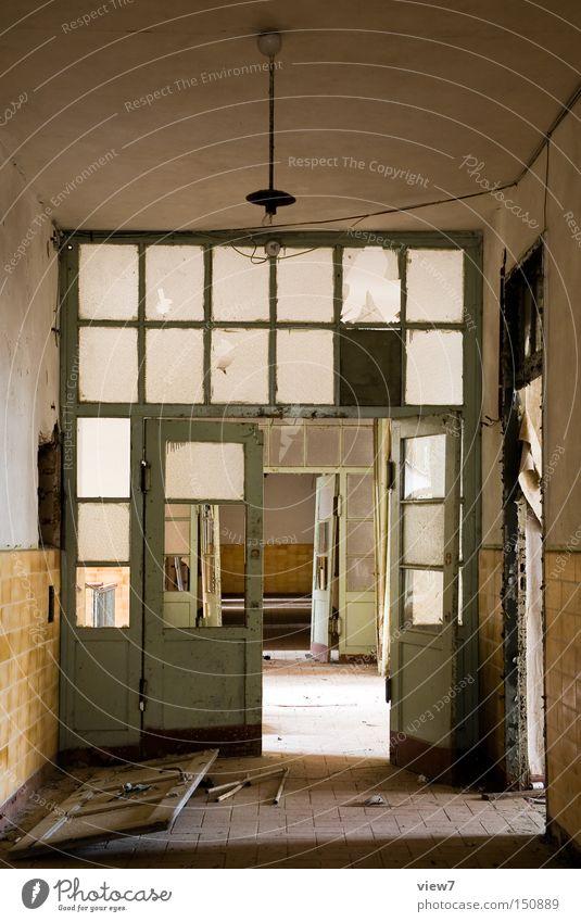 intermediate door Door Wall (building) Glass Connector Hallway Broken Destruction Loneliness Going Forget Ruin Room Long Splinter of glass Floor covering Ground