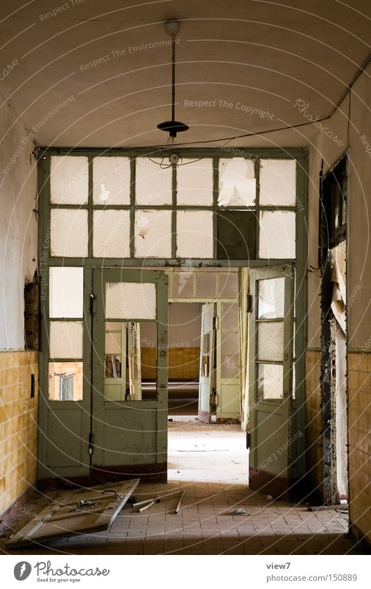 Loneliness Wall (building) Room Glass Going Door Ground Floor covering Broken Long Derelict Ruin Hallway Destruction Flow