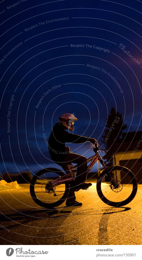 NightRider Motorcyclist Bicycle Sports Helmet Man Twilight Lamp Stand Sit Tire Tree Joy Extreme sports downhill freeride