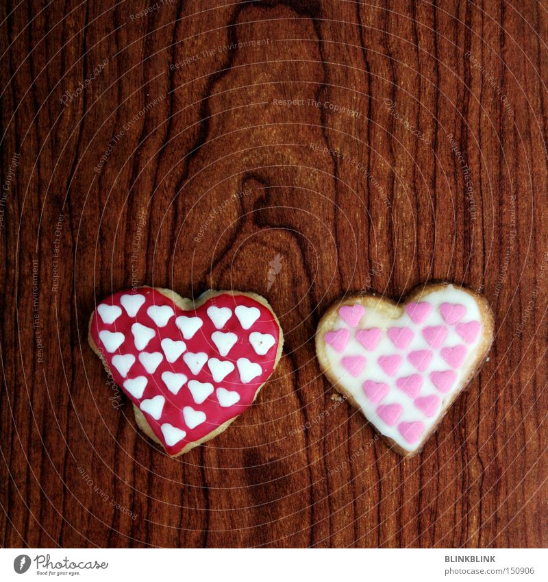 Love Wood In pairs Heart Sweet Delicious Double exposure Baked goods Sugar Valentine's Day Cookie Wood grain Related Side by side Crisp Icing