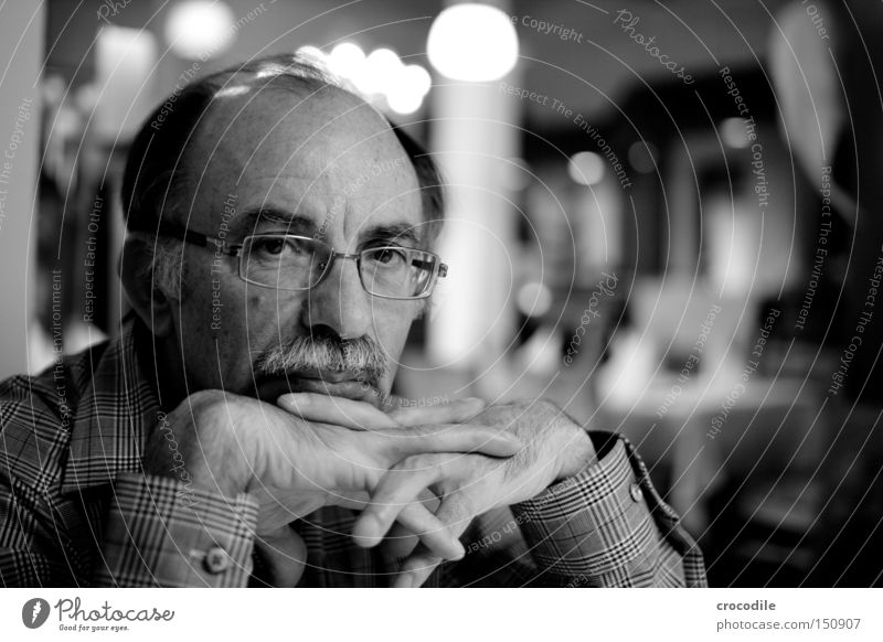 thinking about... Think Black & white photo Eyeglasses Portrait photograph Moustache Fingers Eyes Man Old Hair and hairstyles Head Motionless Light Dark