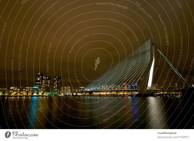 Erasmus Bridge Rotterdam Night Long exposure Light Moody Water Reflection Night life Netherlands Architecture Esthetic Art Culture