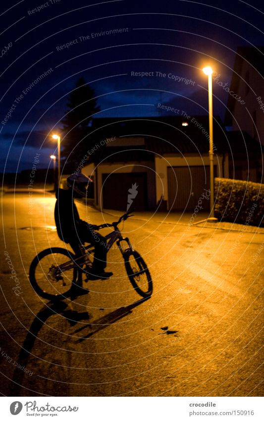 Nightrider IV Motorcyclist Bicycle Sports Helmet Man Twilight Lamp Stand Sit Tire Tree Extreme sports Peace Playing downhill freeride
