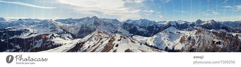 top Environment Nature Landscape Sky Winter Beautiful weather Snow Alps Mountain Snowcapped peak Natural Blue Switzerland Tourism Colour photo Exterior shot