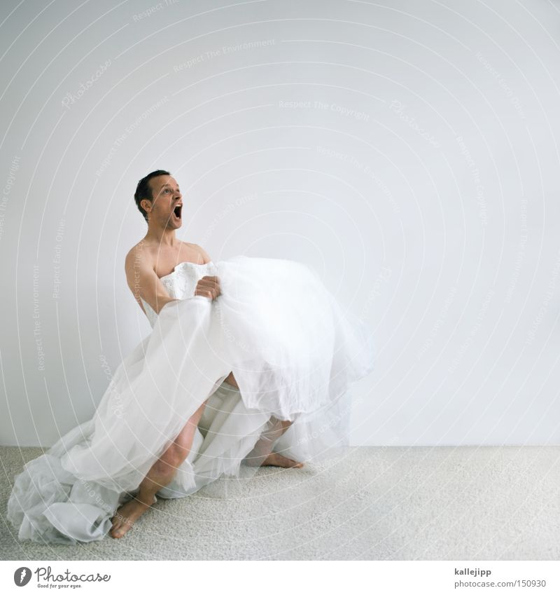 bridal show Bride Woman Man Homosexual man Whimsical Crazy Dress Honeymoon Wedding Registry Wedding couple Wedding band Humor Surprise Joy Scream Loud To talk