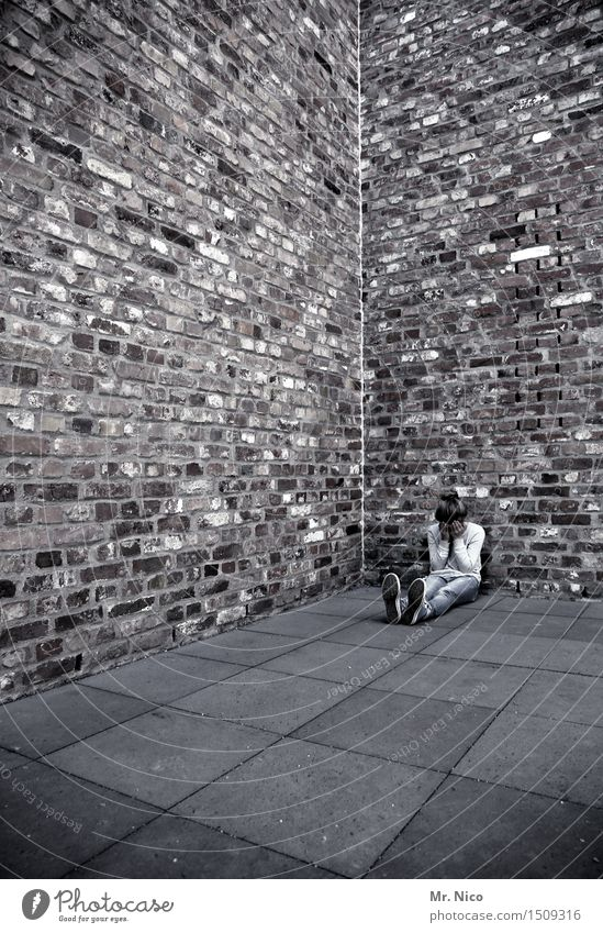 be alone Girl 1 Human being Wall (barrier) Wall (building) Sit Sadness Concern Lovesickness Pain Longing Disappointment Loneliness Exhaustion Architecture