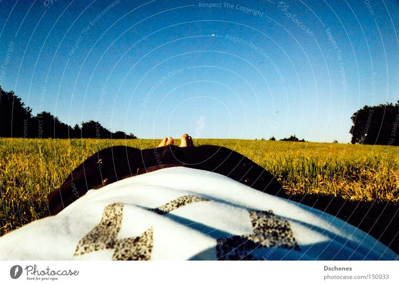 Sky Nature Summer Loneliness Relaxation Meadow Warmth Field Lie Hot Analog Barefoot