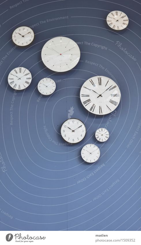 timelapse Clock Deserted Wall (barrier) Wall (building) Going Hang Modern Blue Black White Clock face Time Minute hand Hour hand Round Data display hour