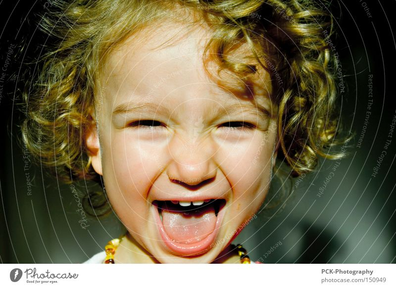 Child Joy Laughter Scream Grinning Curl Grimace