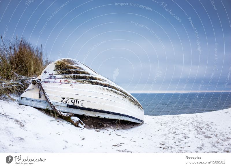 Beach Lubmin - Winter Study VII Nature Landscape Beautiful weather Ice Frost Snow Rock Baltic Sea Watercraft Blue Brown White Sky Clouds Stones Orange
