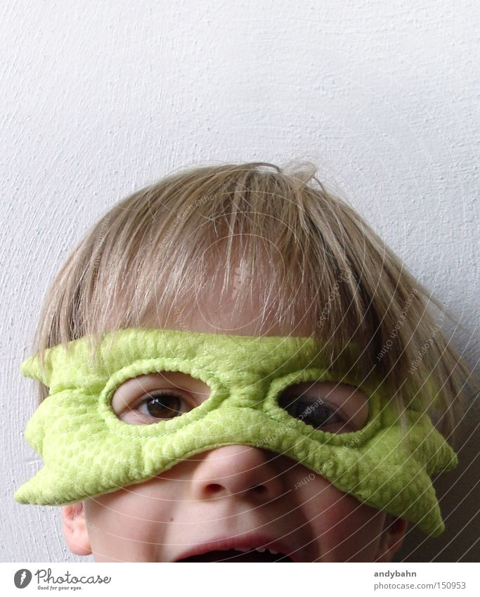 Child Joy Boy (child) Fear Funny Blonde Mask Carnival Infancy Panic Surprise Carnival costume Frightening Monster