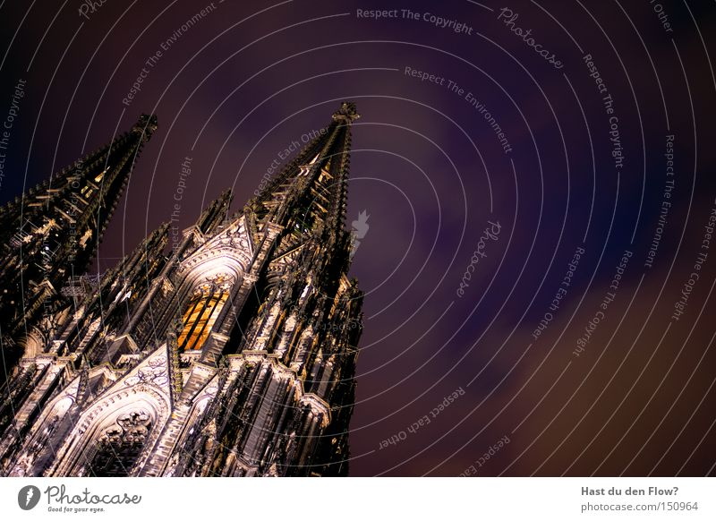 The Cathedral From Below Cologne Cathedral Religion and faith Church Landmark Night Lighting Cathedral Square Violet Blue Tower Medieval times Architecture Pope