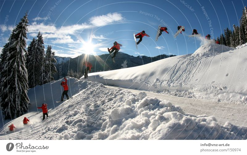 Beautiful Sun Winter Cold Street Snow Style Sports Flying Jump Crazy Tall Beautiful weather Departure Brave Double exposure