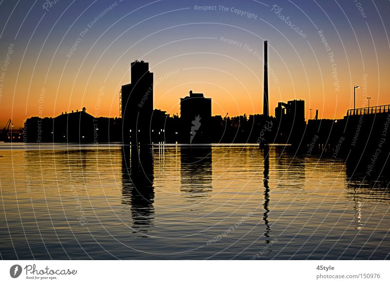 port facility Harbour Sunset Building Warehouse Hall Reflection Industry Shadow Water Share