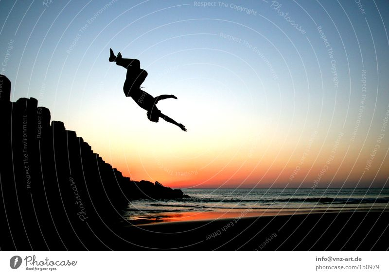 Backflip with sunset Sunset Beach Summer Sports Trick Back somersault France Ocean Athletic Sky Moody Back-light Swimming & Bathing Swimming trunks