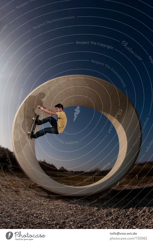 The yellow skater Skateboard Skateboarding Trick Crazy Wacky Lighting Tunnel Yellow Blue Sky Gravel Style Extreme sports Fisheye Youth (Young adults) bowl
