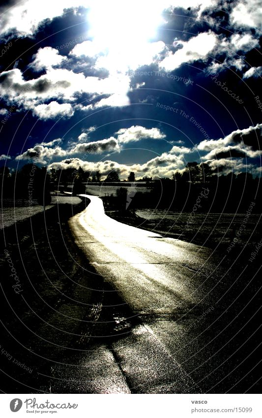 Sky Sun Clouds Street Lanes & trails Glittering
