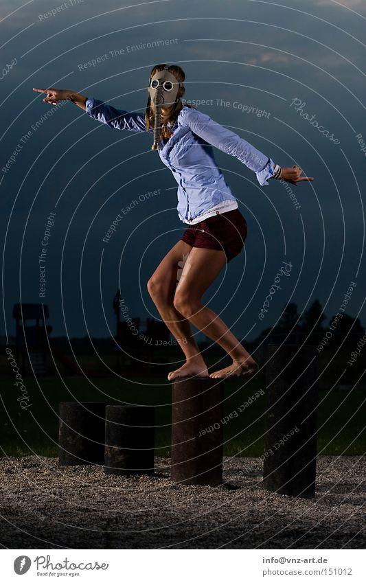 Woman Youth (Young adults) Sky Legs Crazy Fisheye Bottom Posture Hot Playground Pants Respirator mask Hot pants