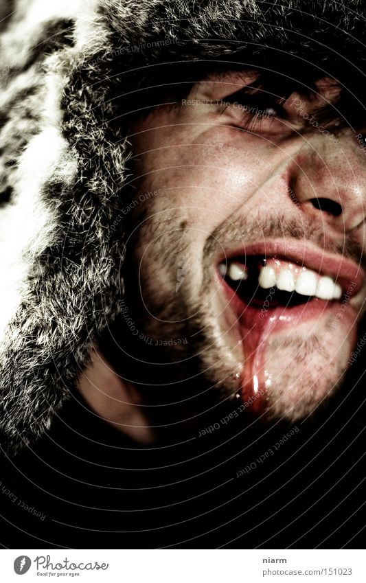 Wild Anger Blood Disgust Teeth Aggravation Hideous Partially visible Frightening Harrowing Raw Headwear Redneck Cruel Tooth space Tough guy