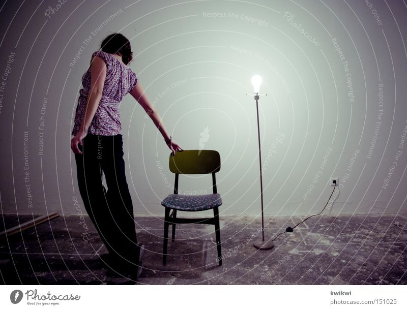 Stand up Living or residing Lamp Chair Room Woman Adults Old Movement Bright Electric bulb Location Gloomy Derelict Dirty Wall (building) Facade Rear view Going