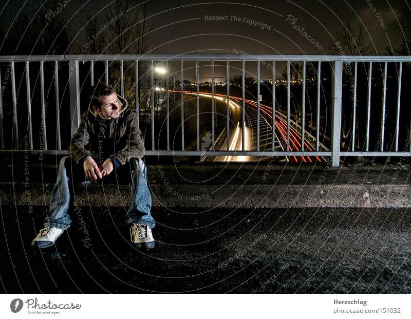 night scene Night Light Wait Bridge Motor vehicle Street Sit Cool (slang) Time Hitchhiker Stop Grating Hope Fate Car