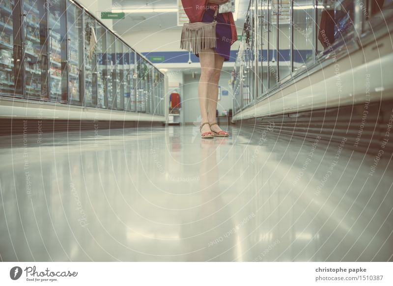 spoilt for choice Feminine Legs Feet 1 Human being Footwear High heels Select Shopping Stand Supermarket Frozen foods Selection Colour photo Subdued colour