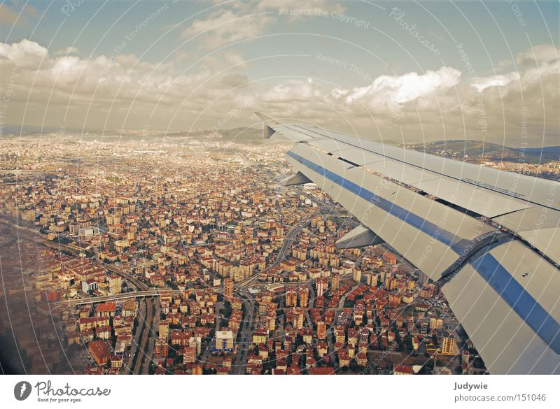 Human being Sky Blue City House (Residential Structure) Clouds Above Brown Small Airplane Flying Aviation Under Wing Airport