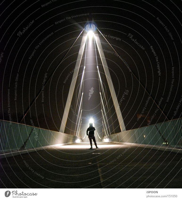 Human shadow caused by light cone Bridge Solothurn Town Light Shadow Human being Silhouette Cone of light Night Black Woman jenny