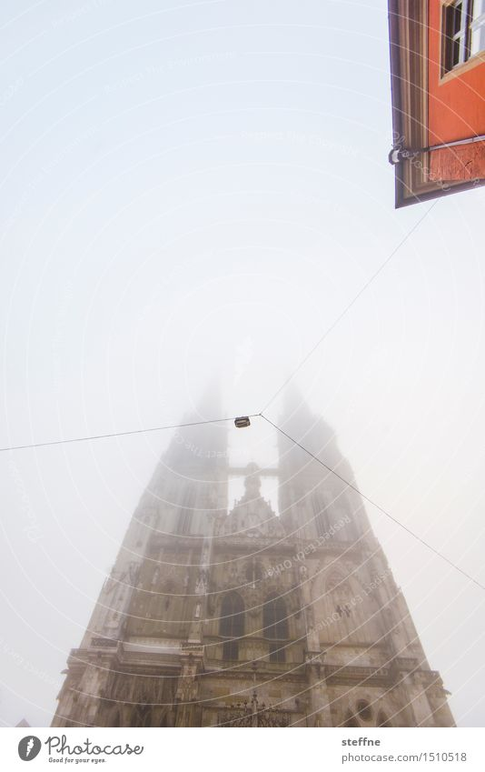 foggy look Winter Fog Regensburg House (Residential Structure) Church Dome Exceptional Religion and faith Dawn Morning fog Colour photo Copy Space top