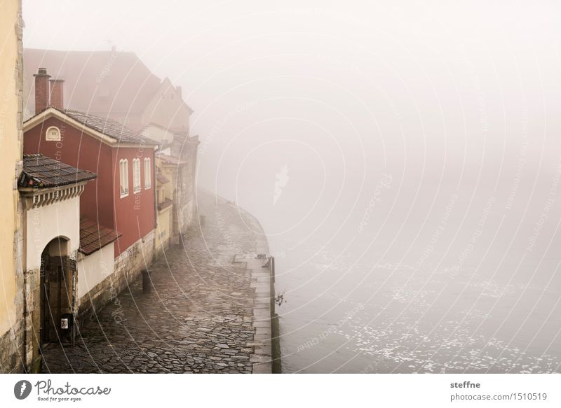 Everything flows: Danube Landscape Winter Bad weather Fog House (Residential Structure) Mysterious Regensburg Mystic Colour photo Exterior shot Copy Space right