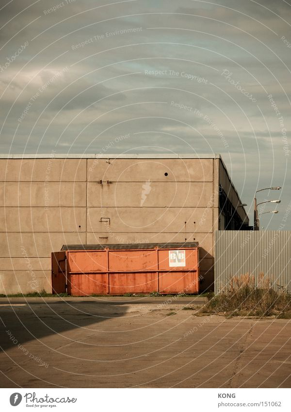 industrial geometry Container Storage Trash Industrial zone Gloomy Badlands Loneliness Orange Concrete Parking Factory Economy Emergency Past Construction site