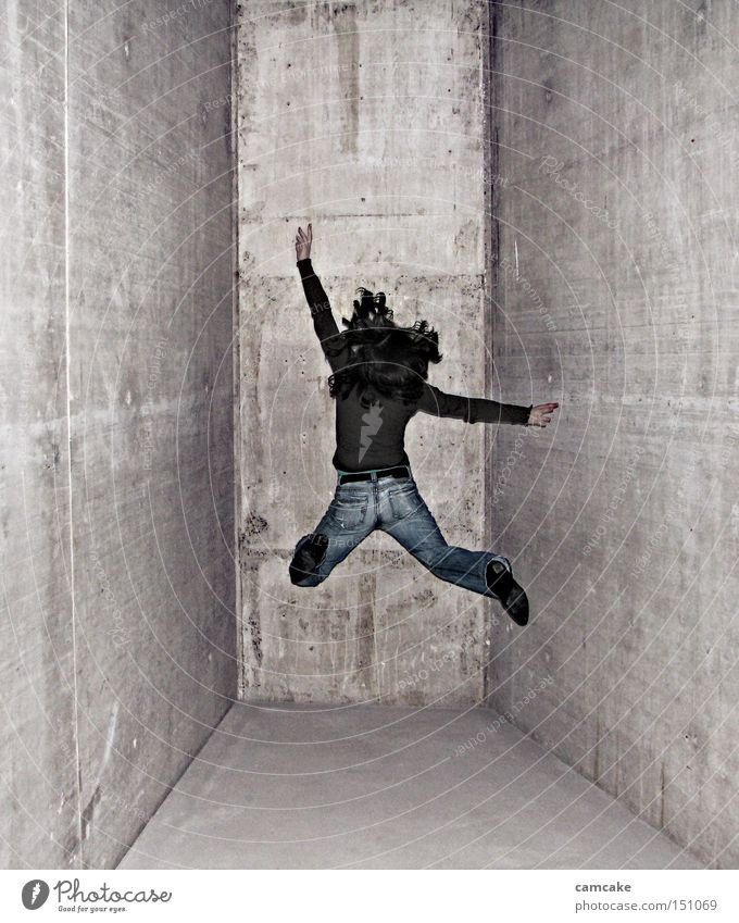 Woman Jump Movement Freedom Bright Tall Tunnel Dynamics Sudden fall Central
