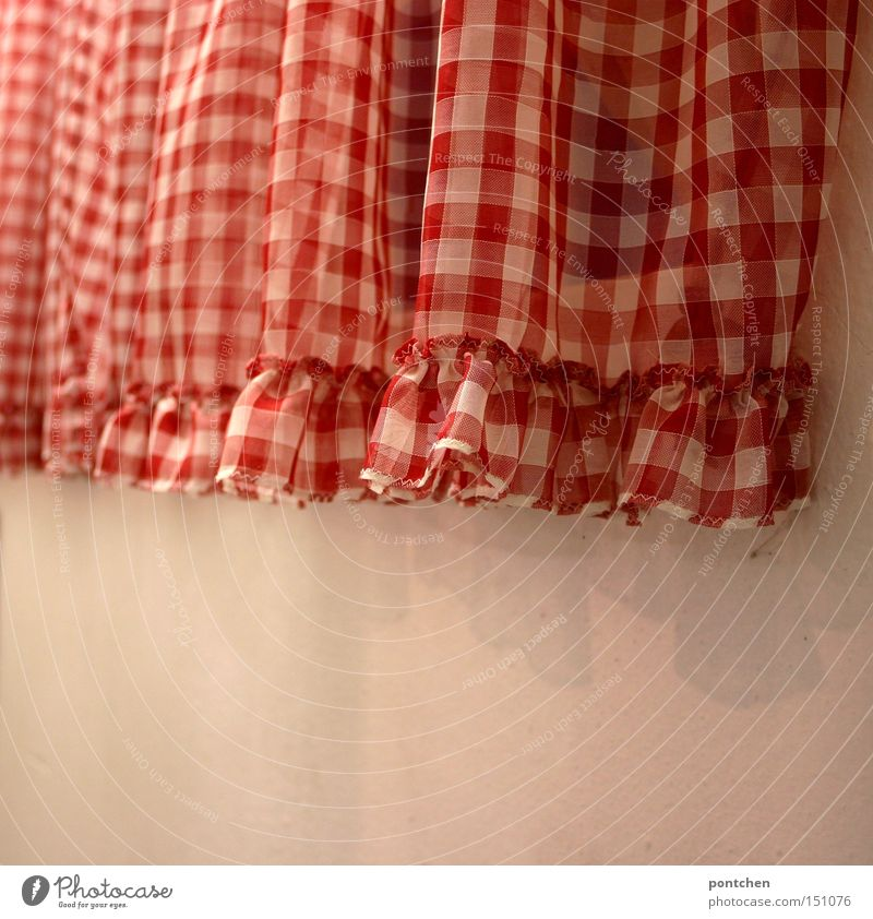 Window Wall (building) Room Living or residing Cloth Decoration Protection Drape Checkered Curtain Sewing Old fashioned Frills Reddish white